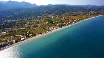 Corfu Acharavi Beach Aerial View