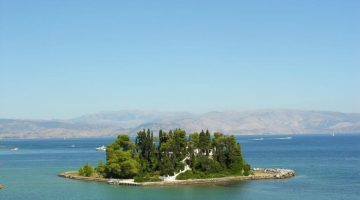Corfu Kanoni Mouse Island Far View
