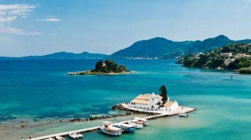 Corfu Kanoni Mouse Island Far View with Church