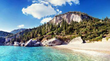 Corfu Rovinia Beach view showing cliffs