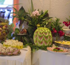 Elea Beach – Dine Buffet with Fruites, Feta cheese, butter, ham and more