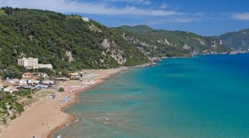 Corfu Glyfada Beach far view
